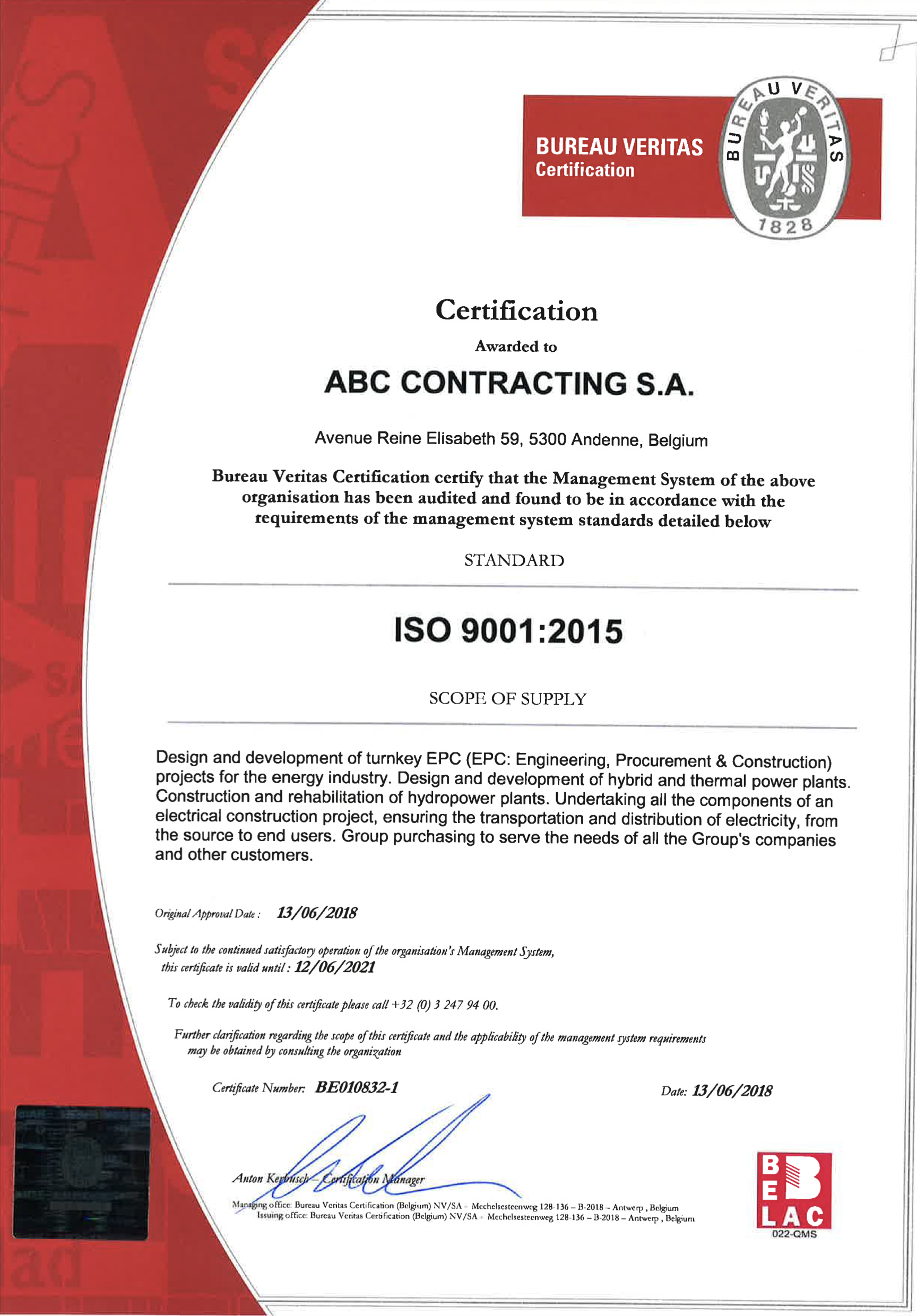 ISO certification 9001 : 2015